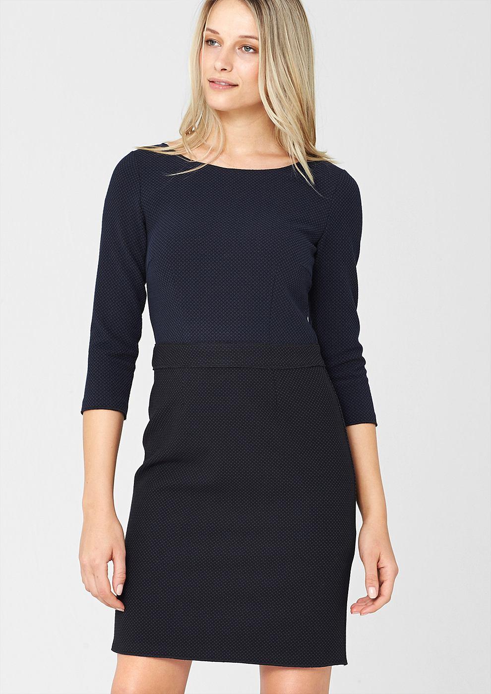 s.Oliver Premium Nauwsluitende jurk met een jacquard motief blauw