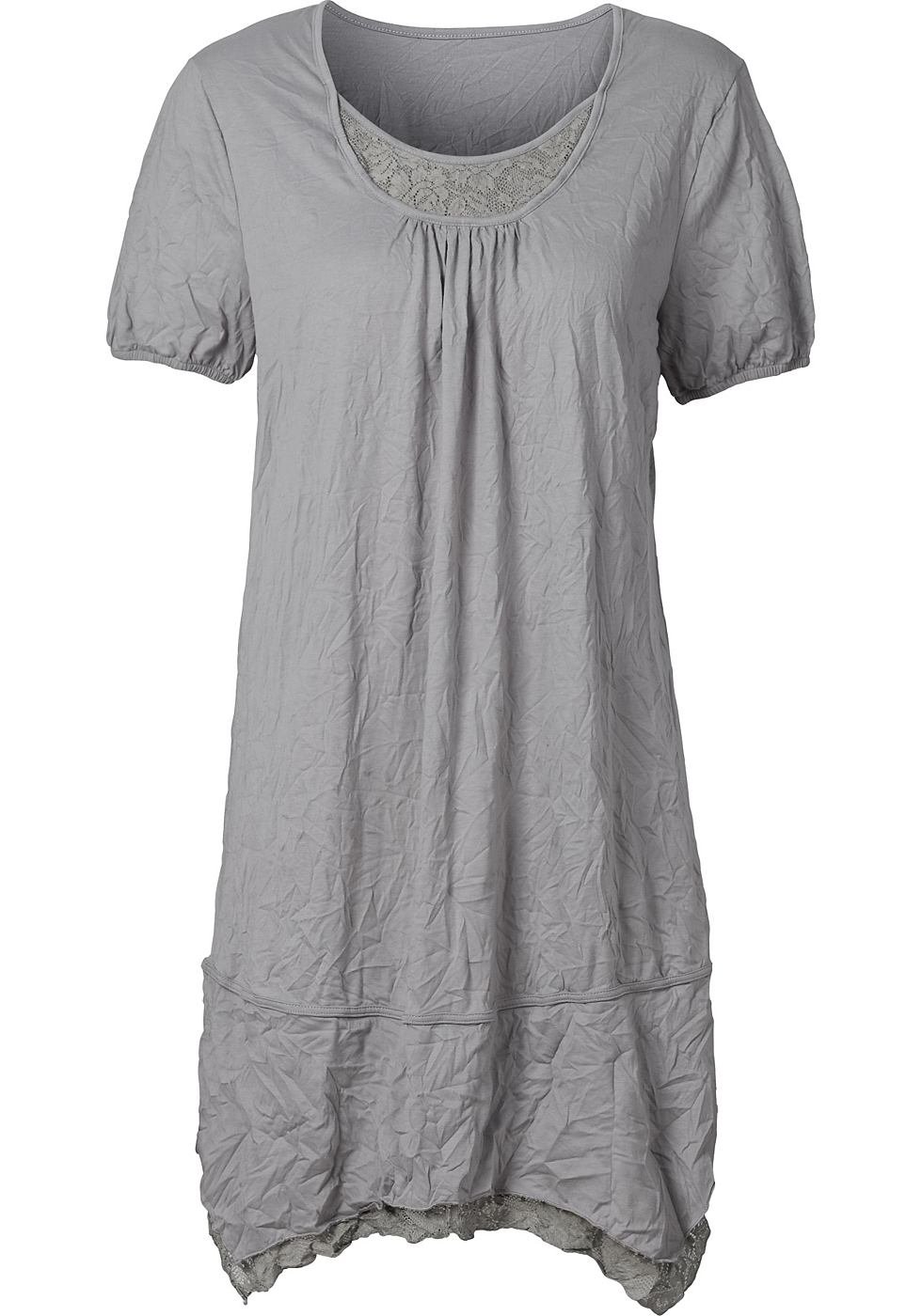 Sheego Style jersey-jurk met kanten inzetten grijs