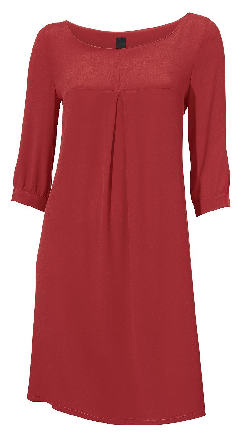 jurk met ronde hals rood
