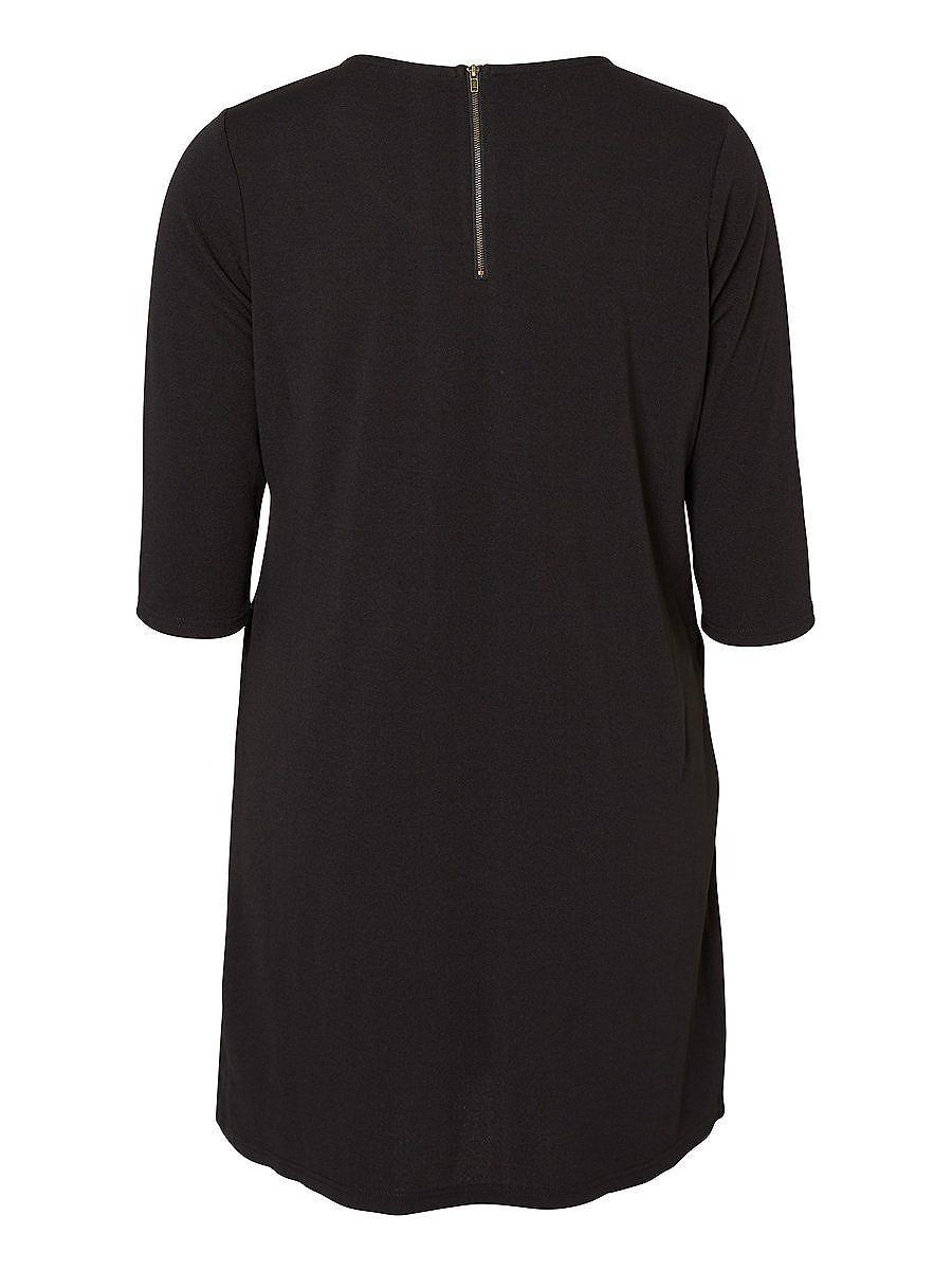 Junarose met 3/4 mouwen jurk zwart