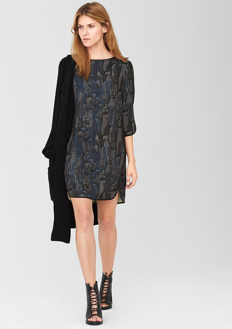 s.Oliver Premium CrǦpe jurk met een print all-over zwart
