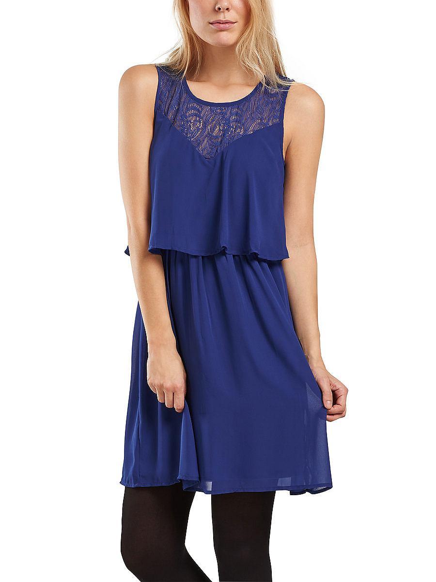 ONLY kanten details Mouwloze jurk blauw