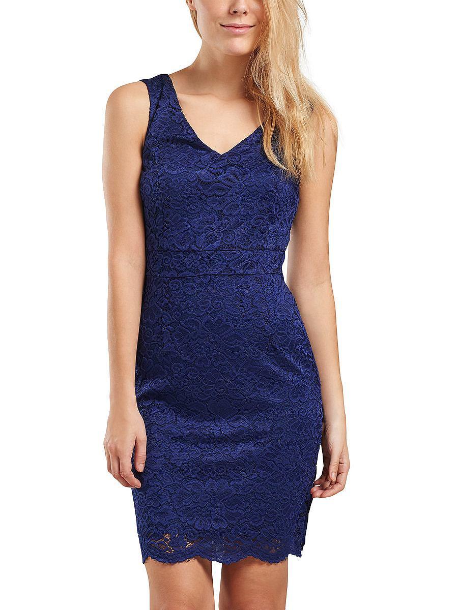 ONLY kanten detail Mouwloze jurk blauw