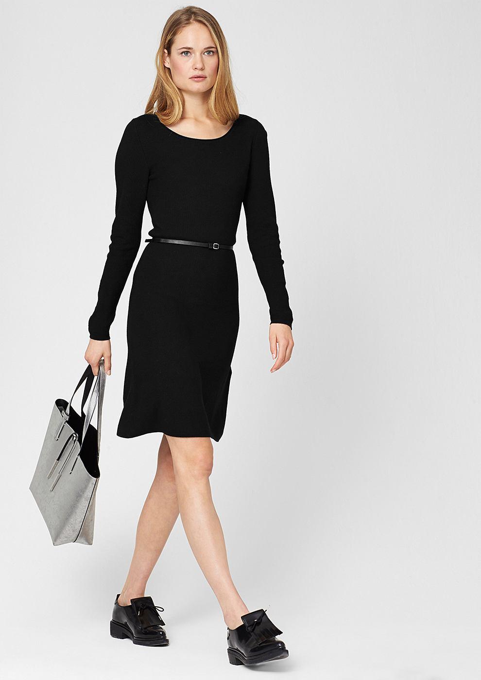 s.Oliver Premium jersey jurk met ceintuur zwart