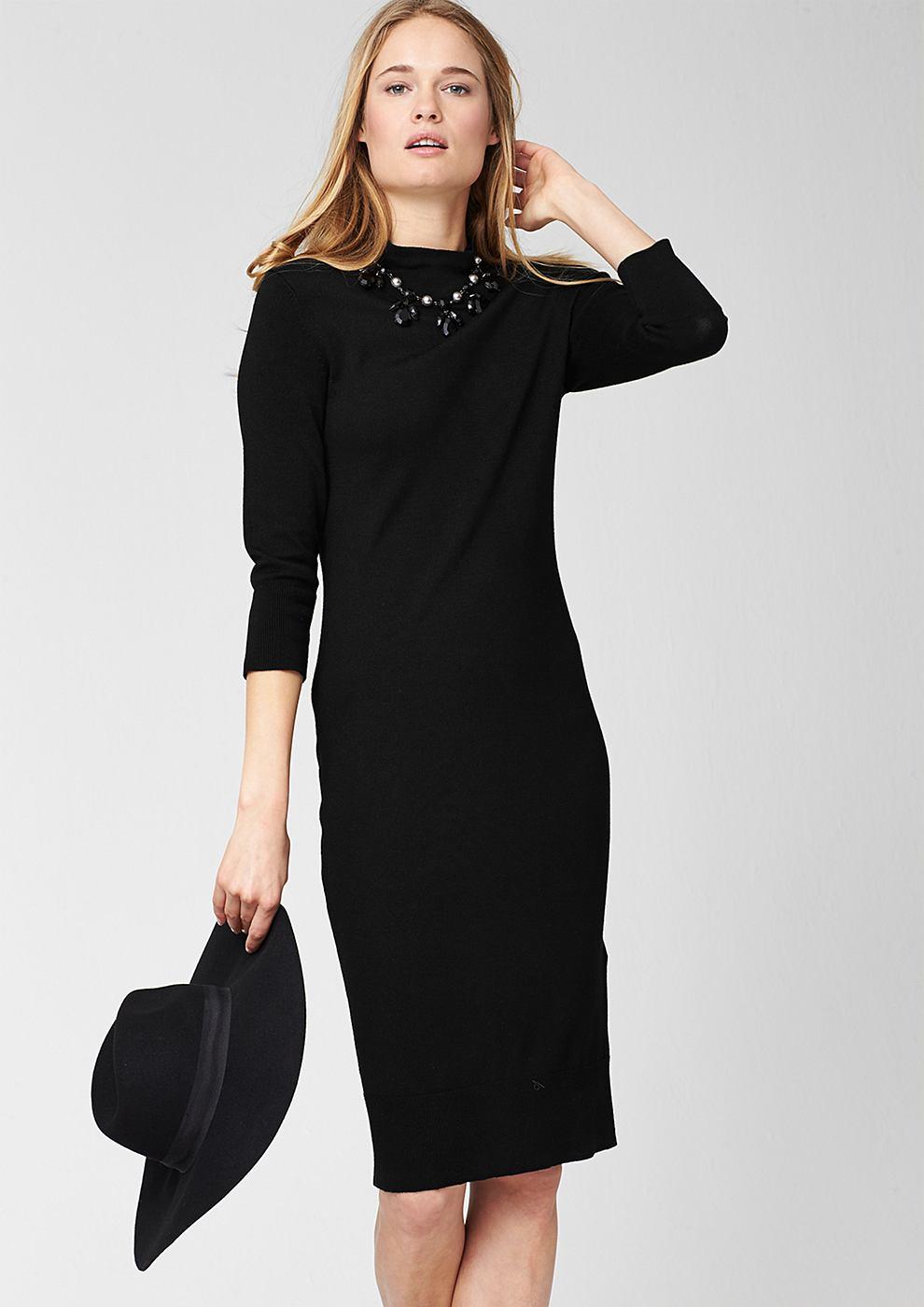 s.Oliver Premium gebreide jurk met een staande kraag zwart