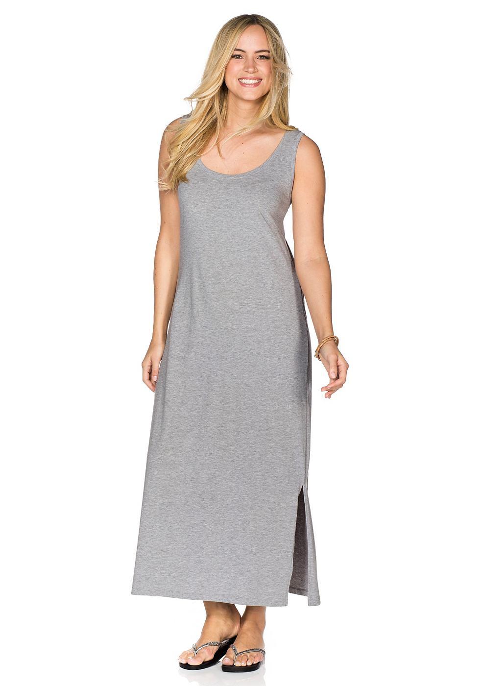 Sheego Casual Shirt-jurk met ronde hals grijs