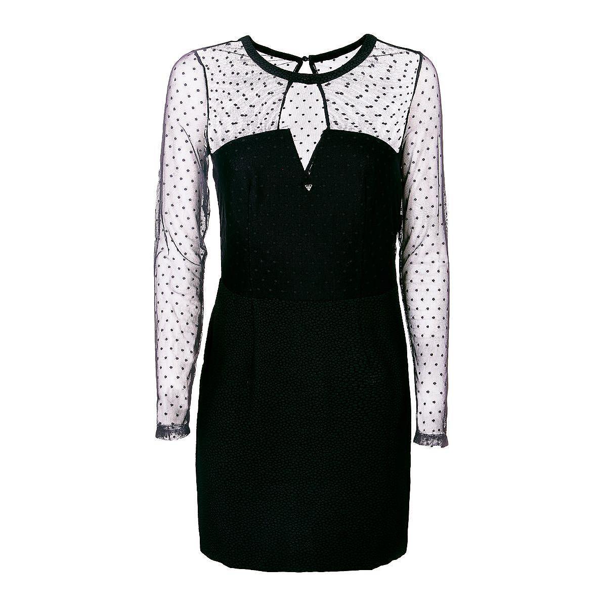 Guess Bodycon-jurk met gestippeld mesh zwart
