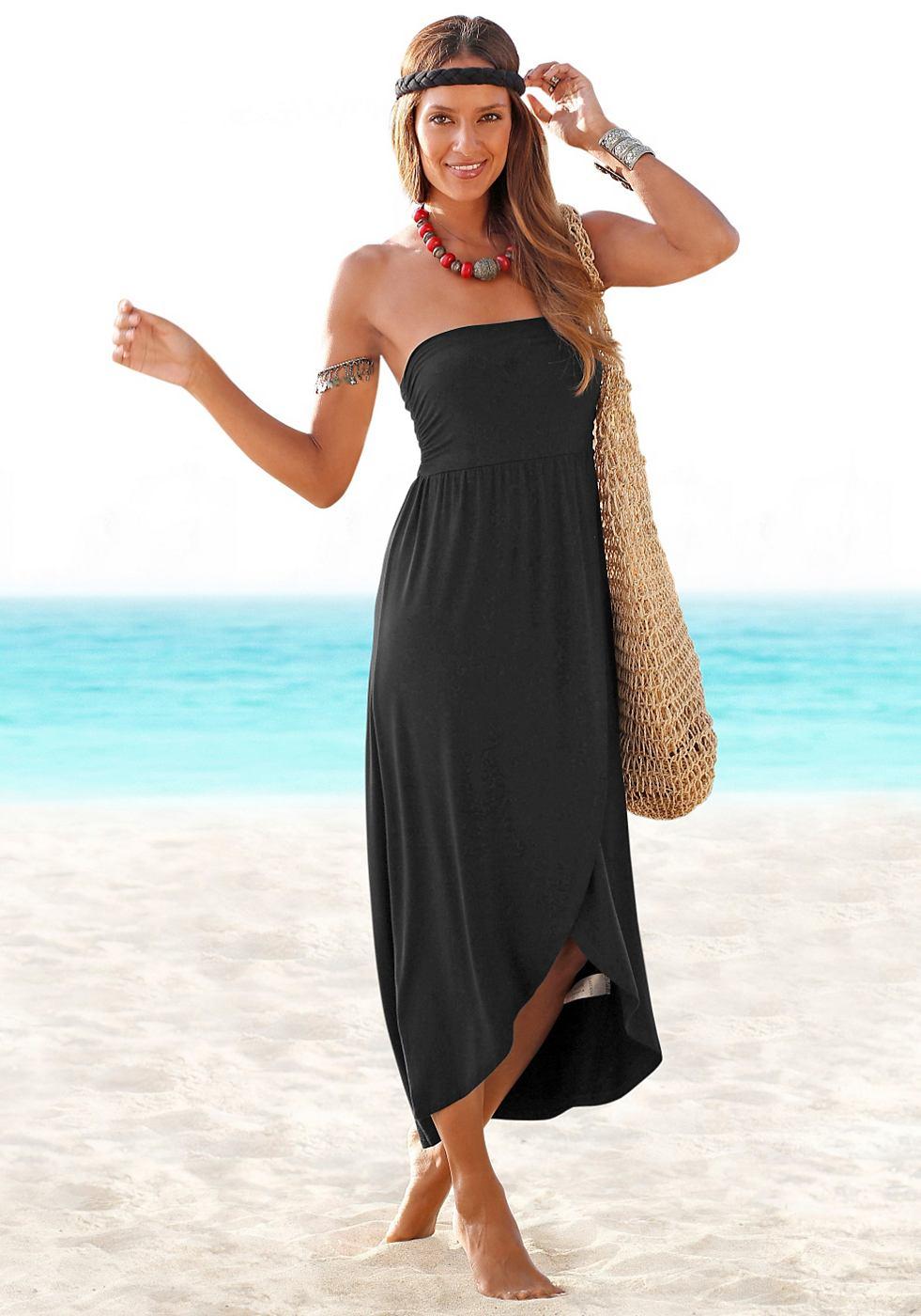 Lascana Maxi-jurk in bandeaumodel zwart