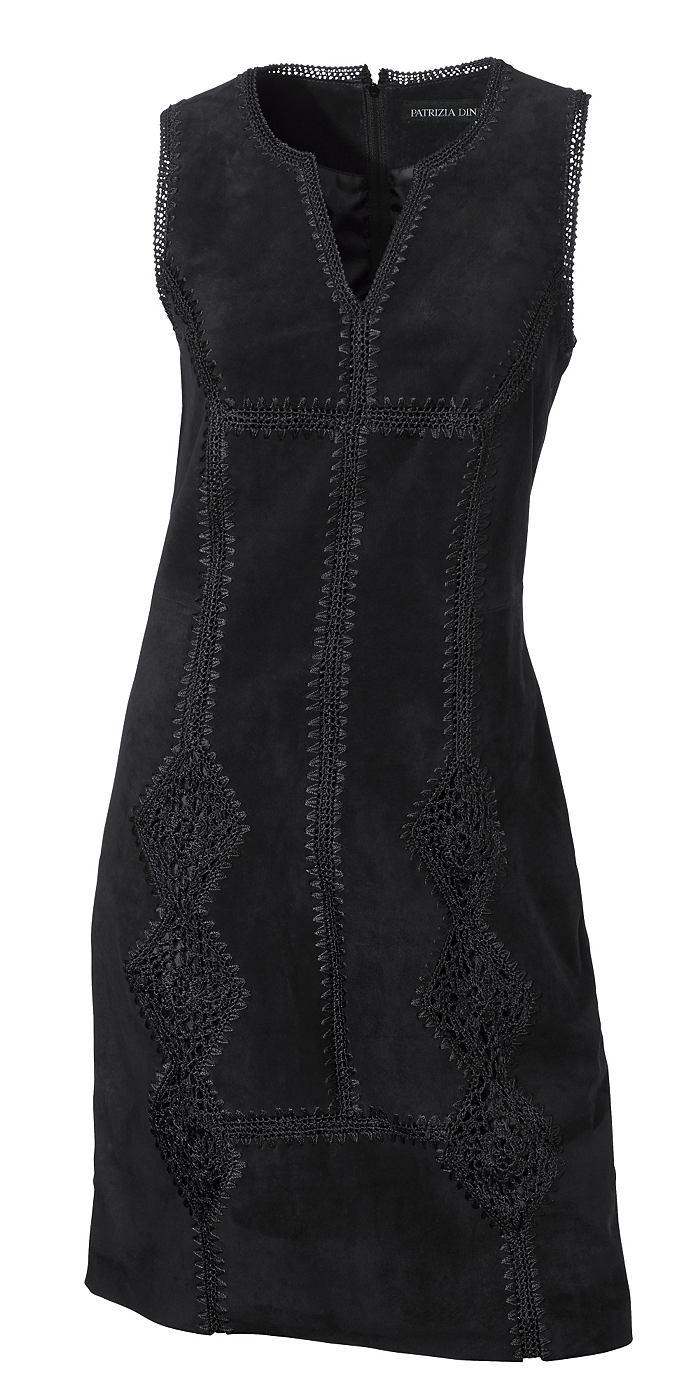 Leren jurk porcsuede zwart