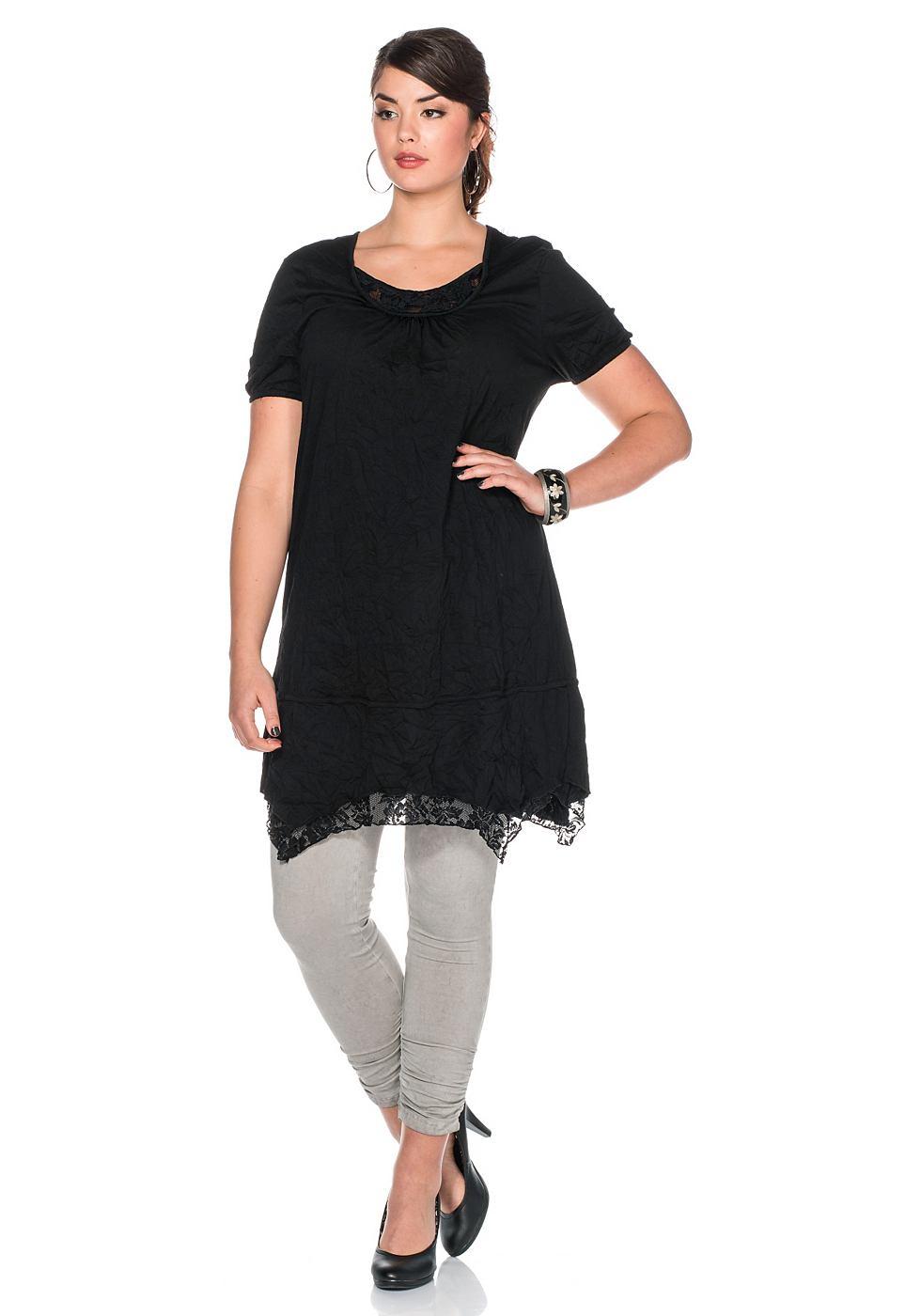 Sheego Style jersey-jurk met kanten inzetten zwart