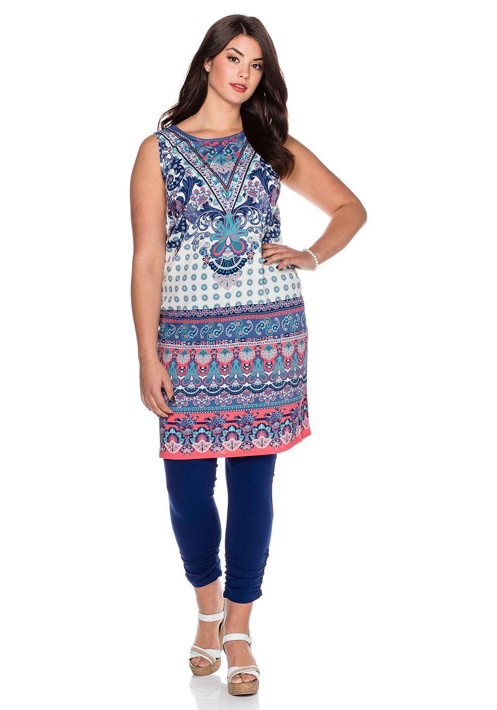 Sheego Style jurk met brede bandjes blauw