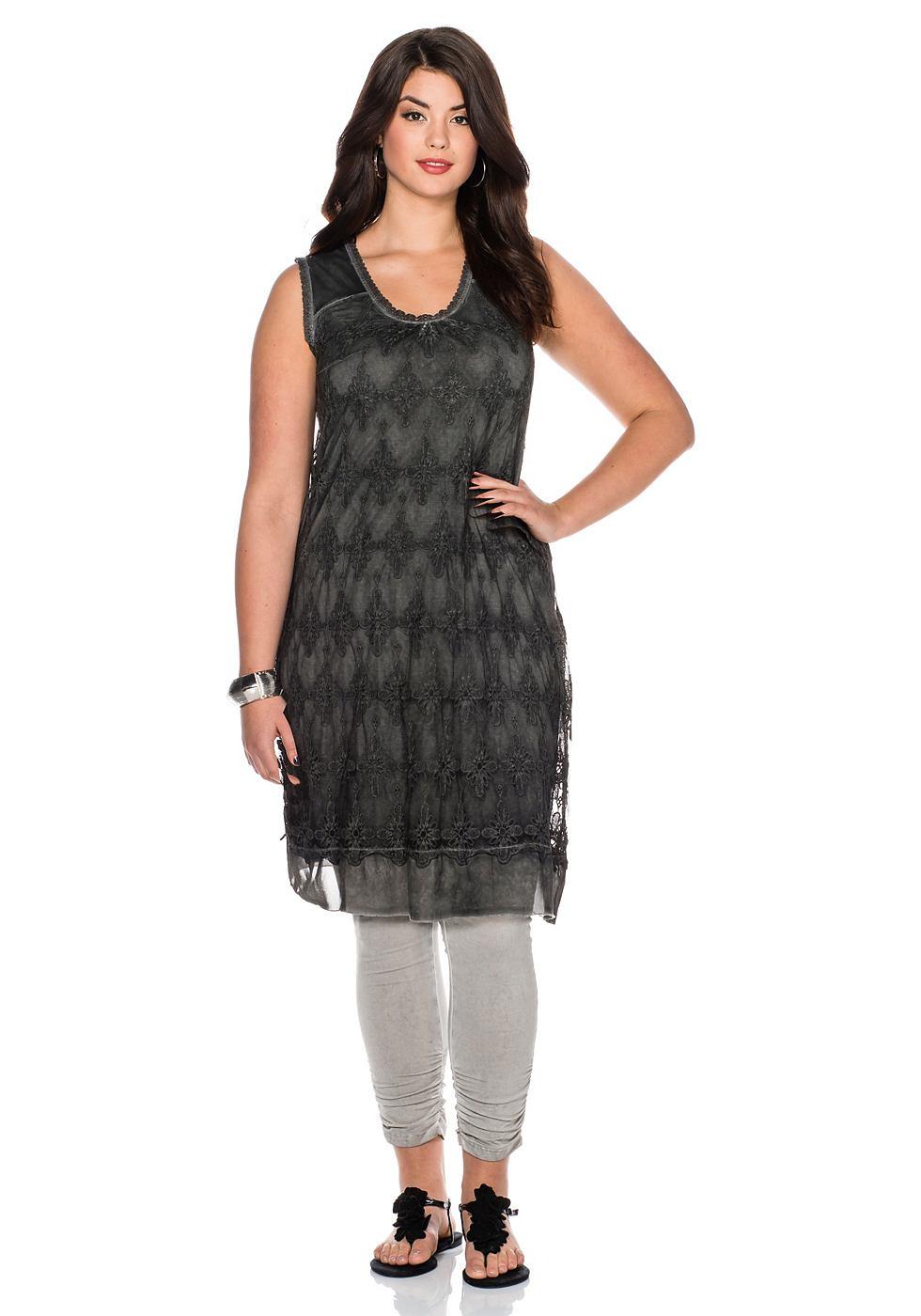 Sheego Style kanten jurk grijs