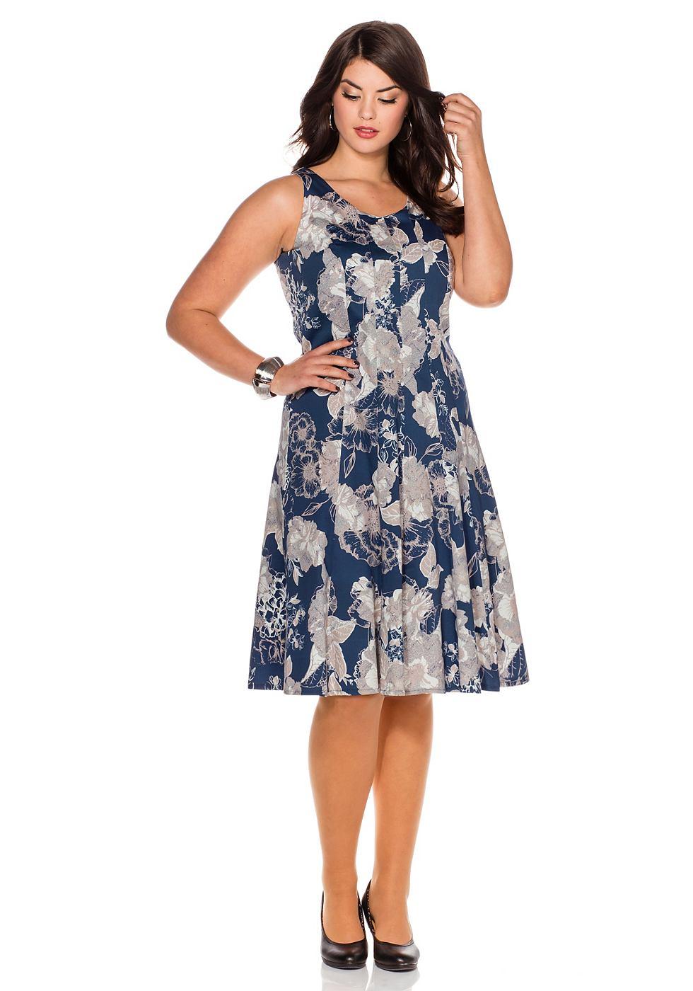 Sheego Style jurk in kokermodel blauw