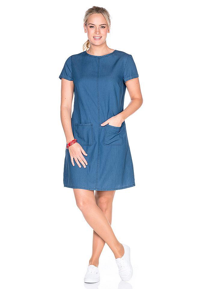 SHEEGO DENIM Jeans-jurk met opgestikte zakken blauw