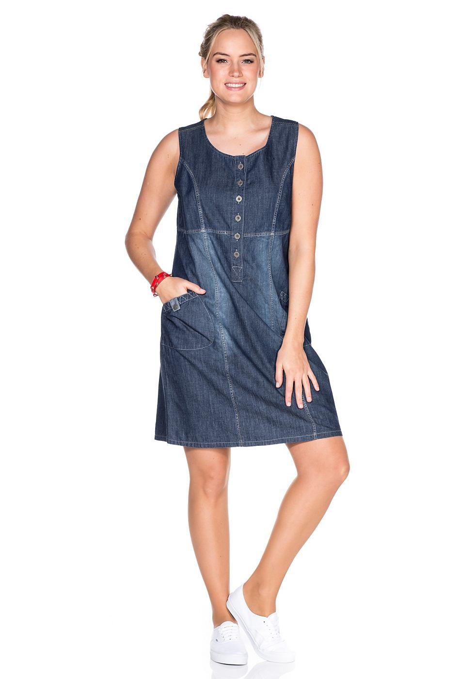 SHEEGO DENIM Jeans-jurk met ronde hals blauw