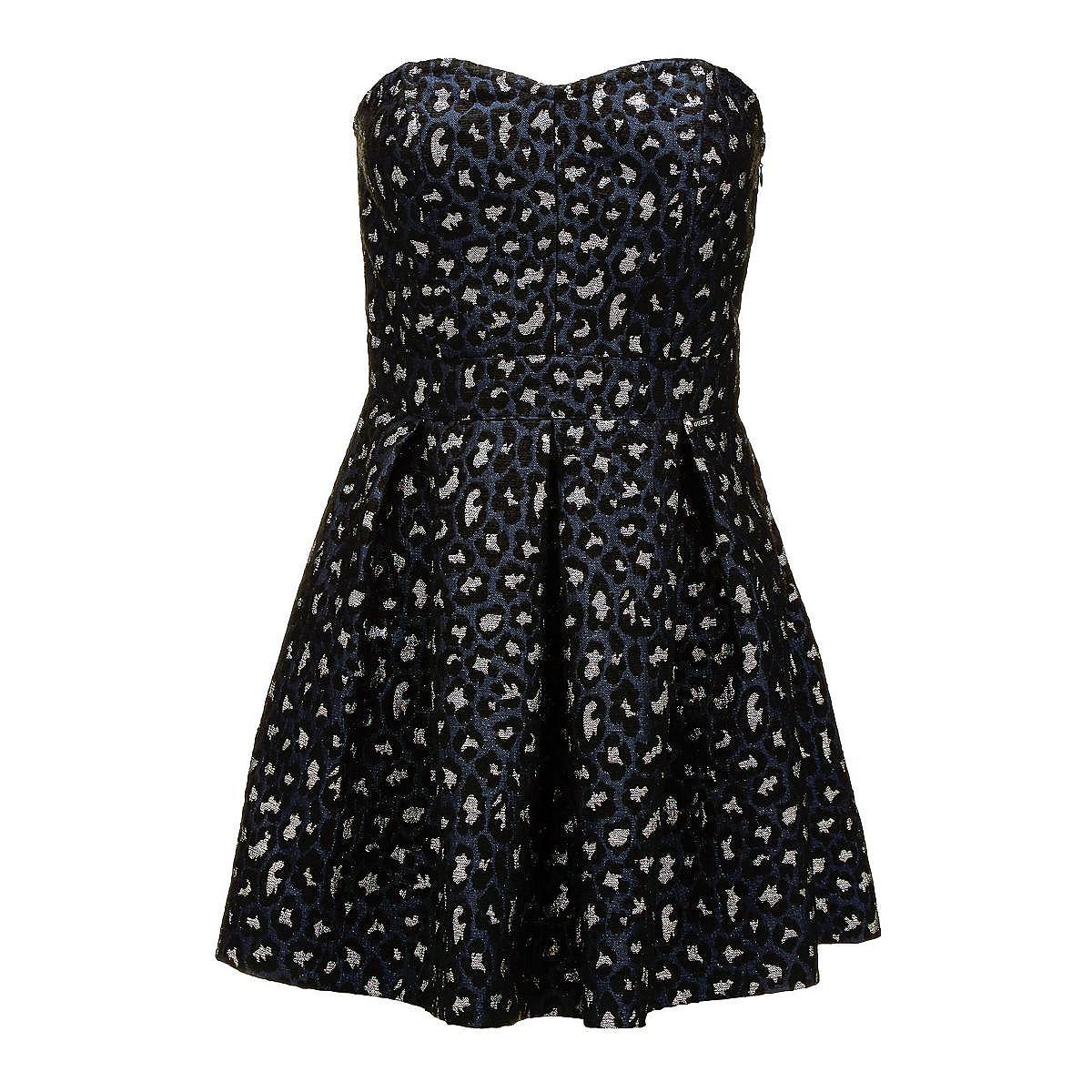Guess jurk met animal-print en hartvormige hals zwart