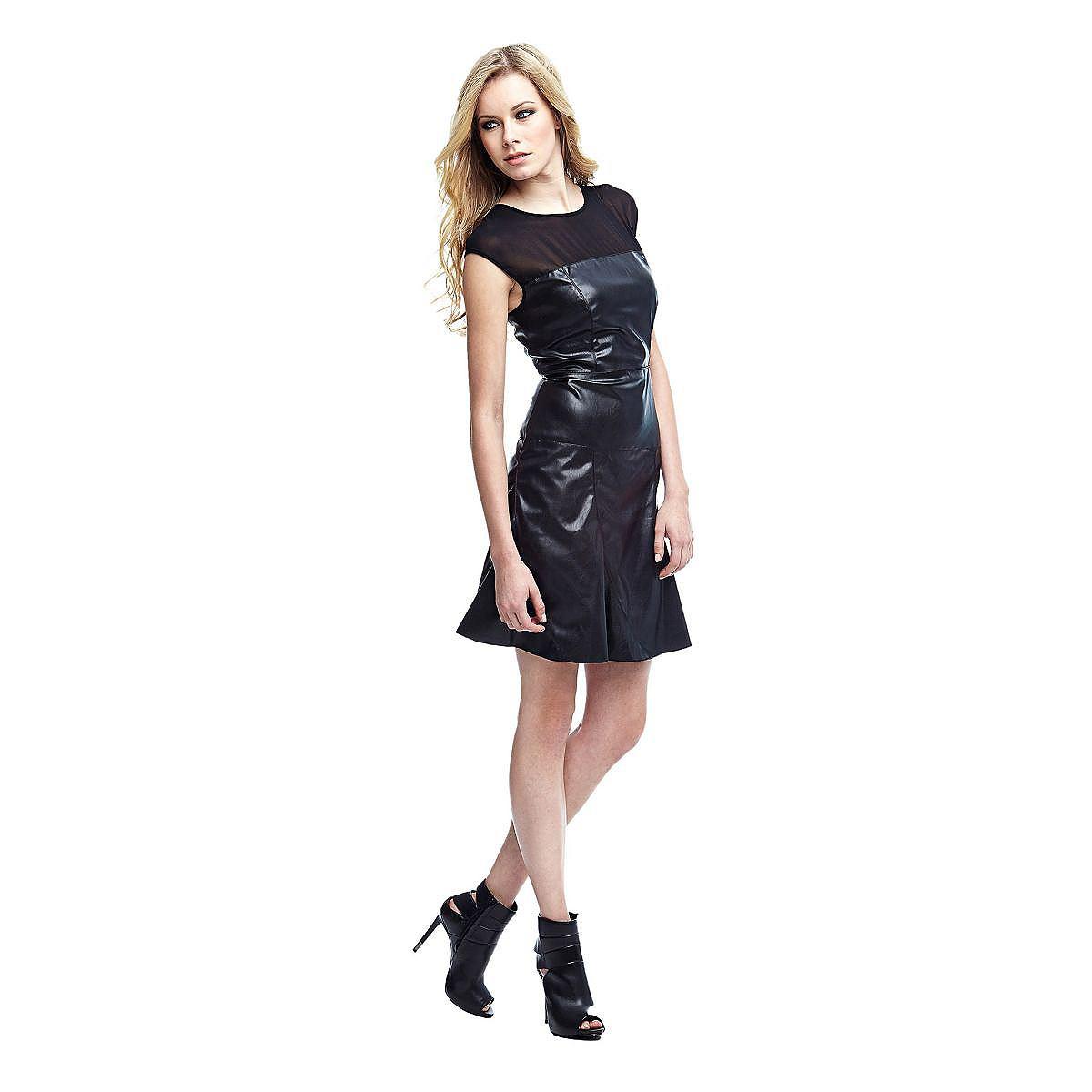 Guess jurk in gecoate look zwart