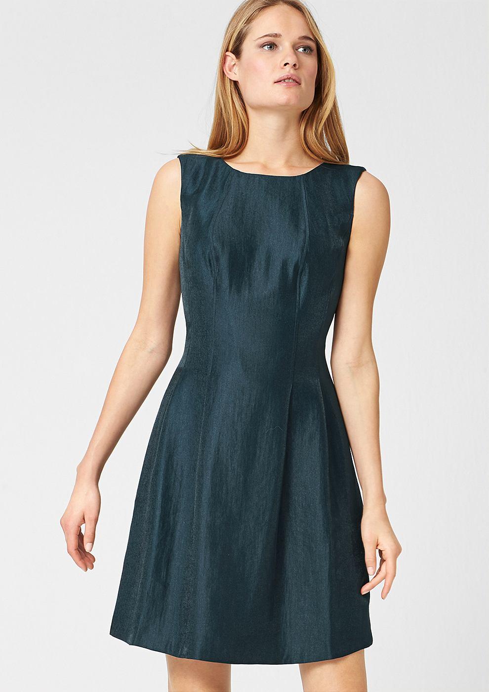 s.Oliver Premium Aansluitende jurk met een glanzend effect bruin