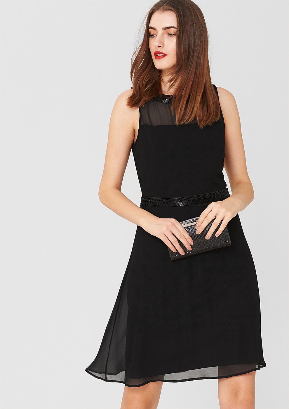 s.Oliver Premium chiffon jurk met sierstenen zwart