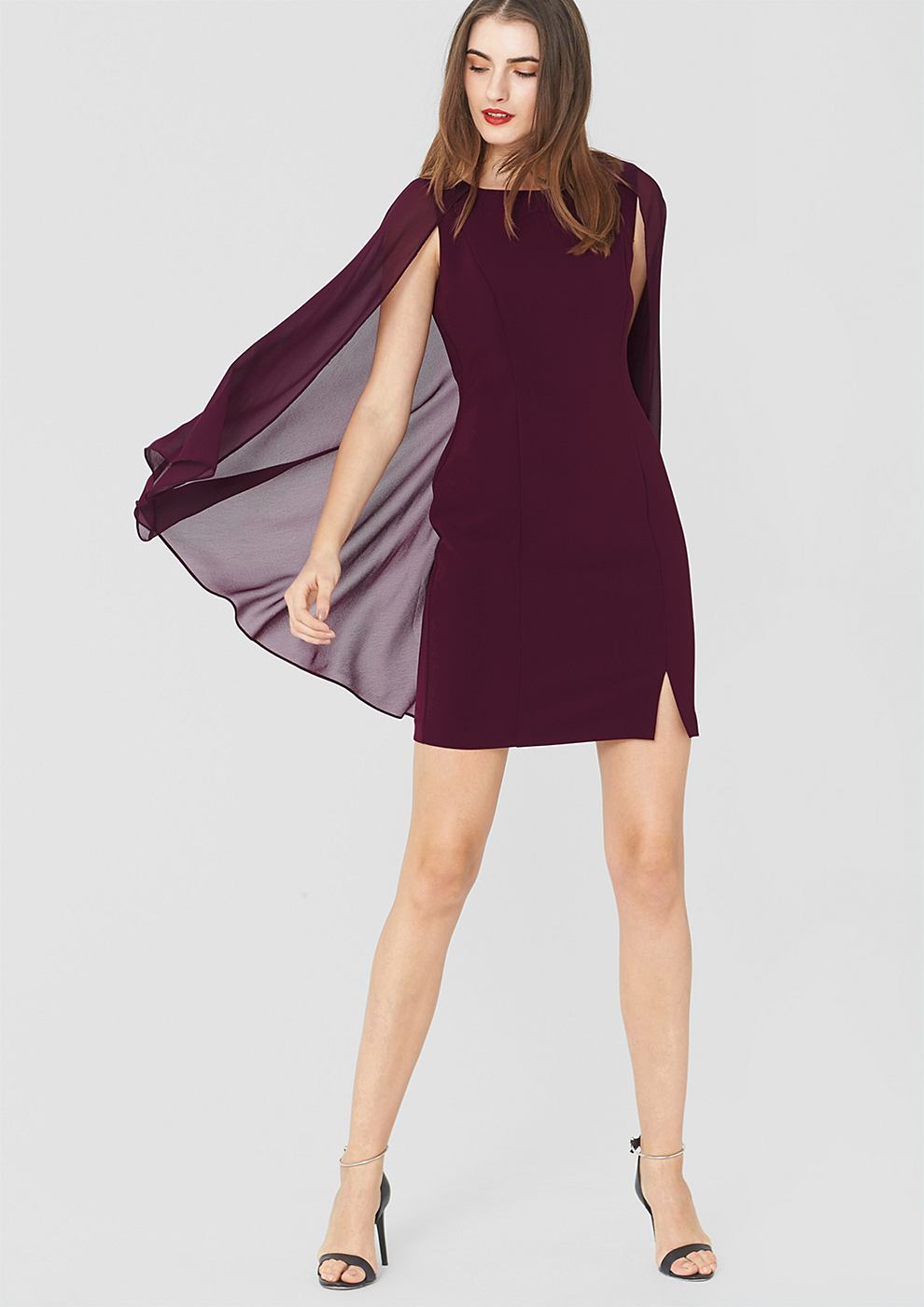 s.Oliver Premium Crêpe jurk met chiffon detail rood
