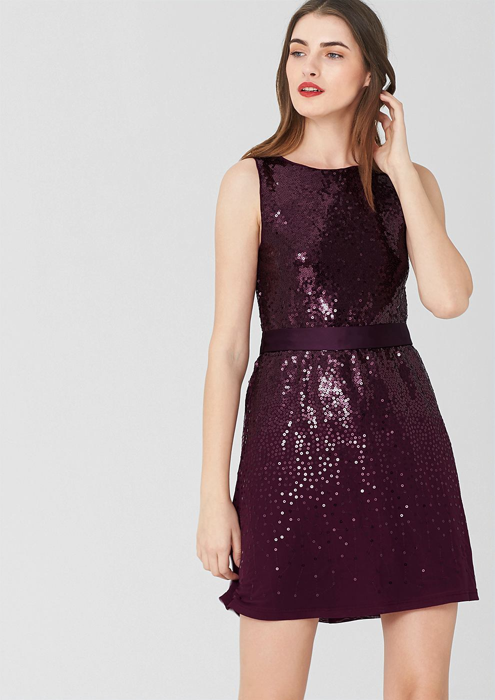 s.Oliver Premium jurk met pailletjes en bindkoord rood