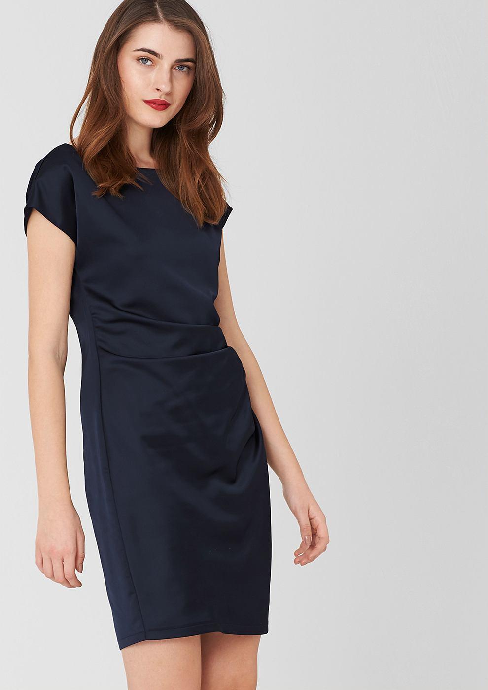 s.Oliver Premium satijnen jurk met gedrapeerd effect blauw