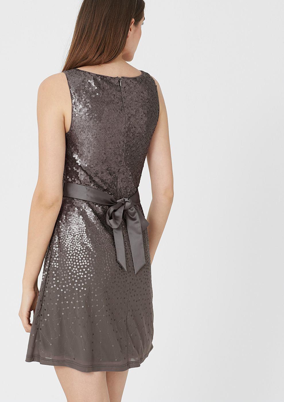 s.Oliver Premium jurk met pailletjes en bindkoord grijs