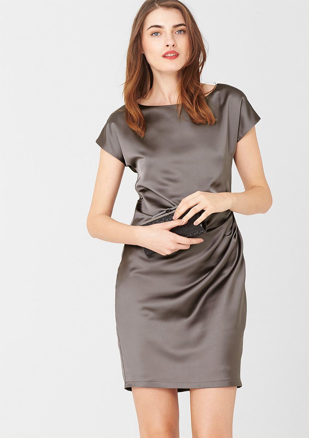 s.Oliver Premium satijnen jurk met gedrapeerd effect grijs