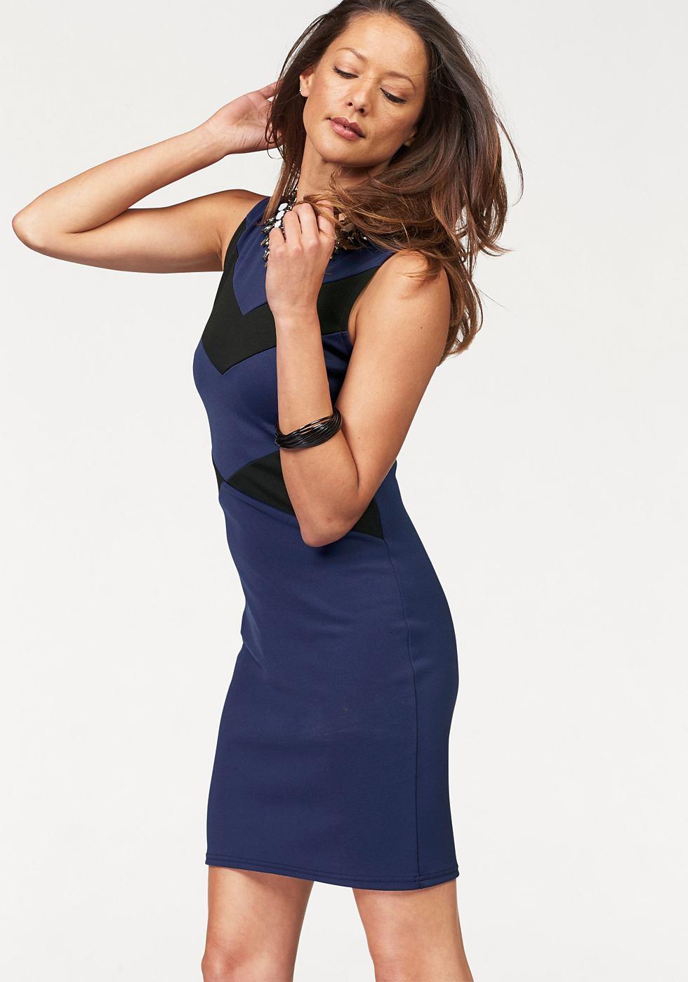 Melrose jersey-jurk met contrastkleurige inzetten blauw