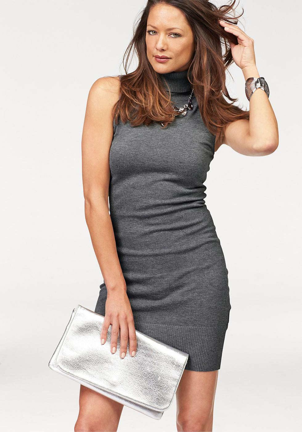 Melrose Tricot-jurk met col grijs