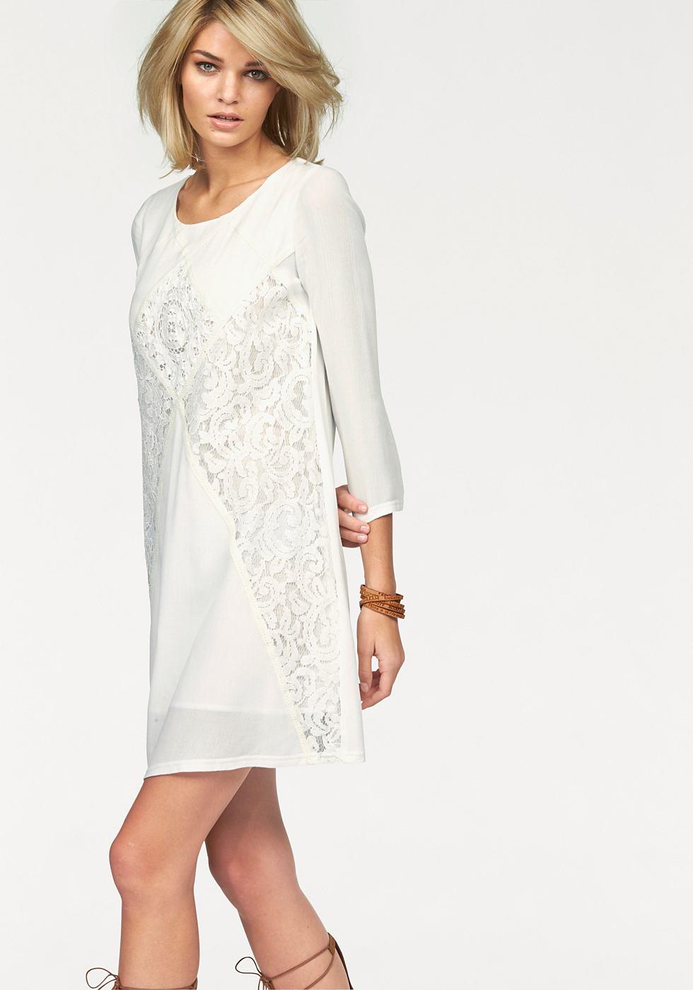Laura Scott Shirt-jurk in krinkel-look wit
