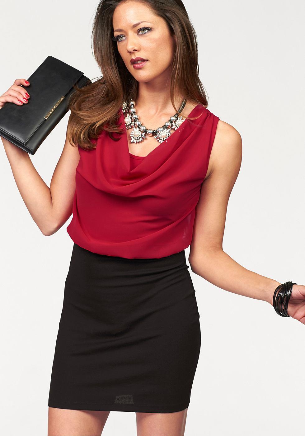 Melrose chiffon-jurk met cascadehals rood