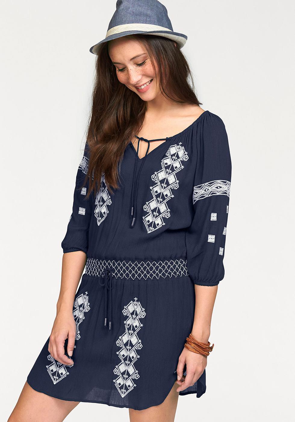 Kangaroos Lange blouse met borduursel blauw