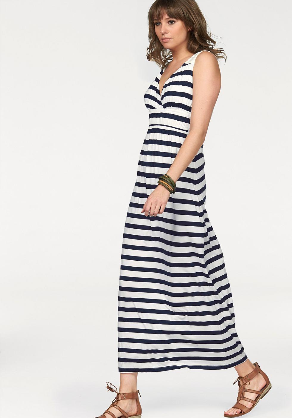 AJC Maxi-jurk gestreept met ingezette kant blauw