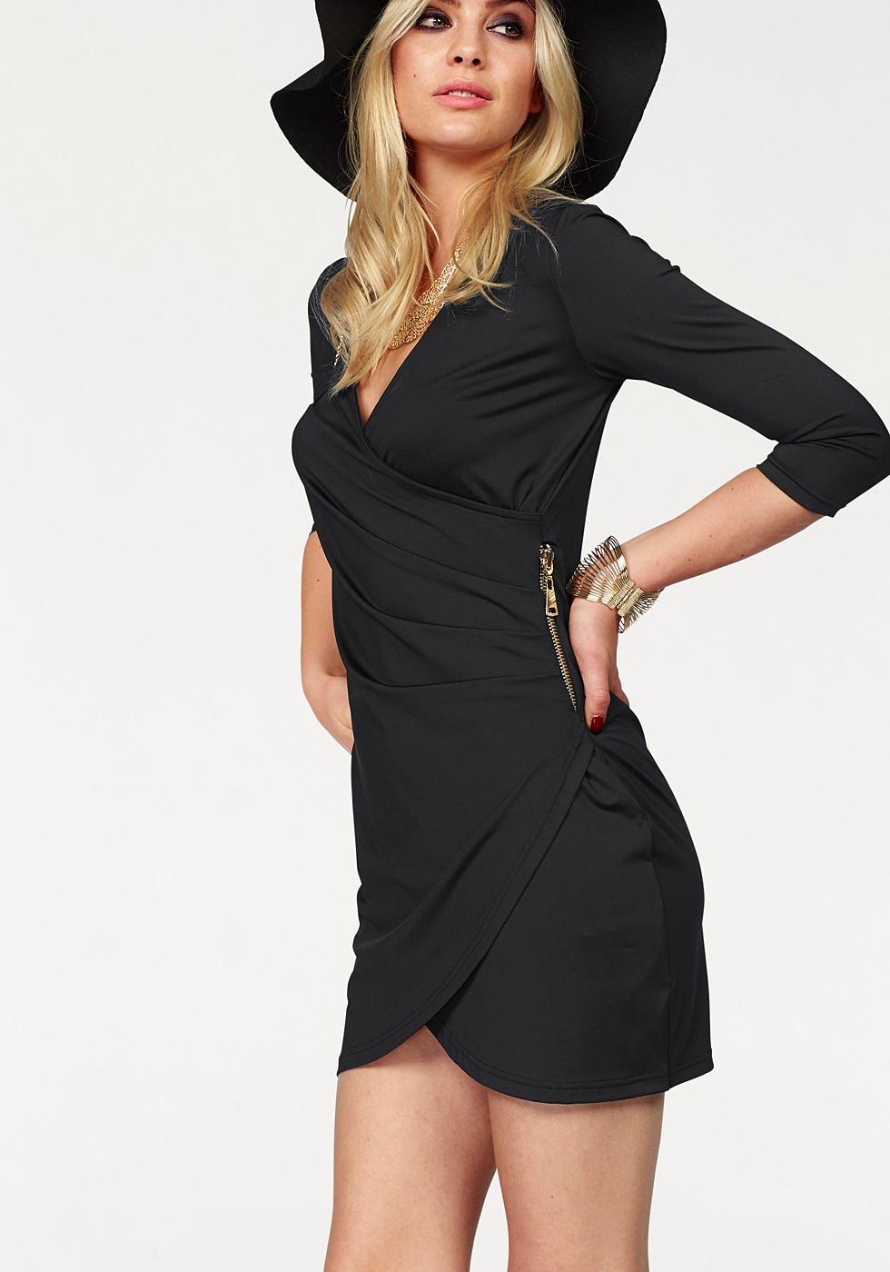 Melrose jersey-jurk in wikkel-look zwart