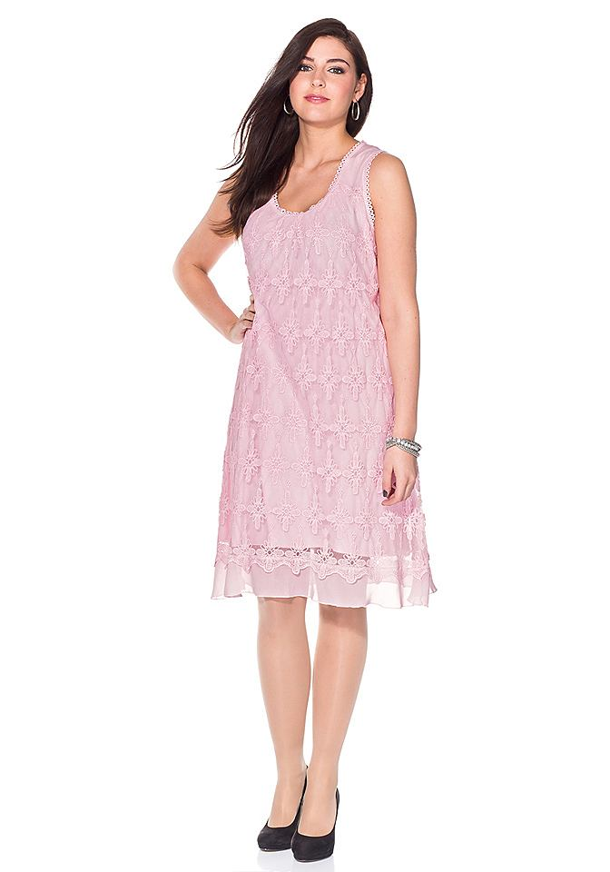 Sheego Style kanten jurk roze