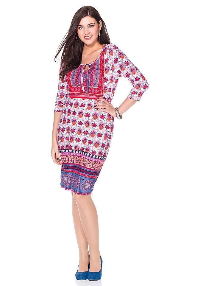 Sheego Style jersey-jurk met driekwartmouwen oranje