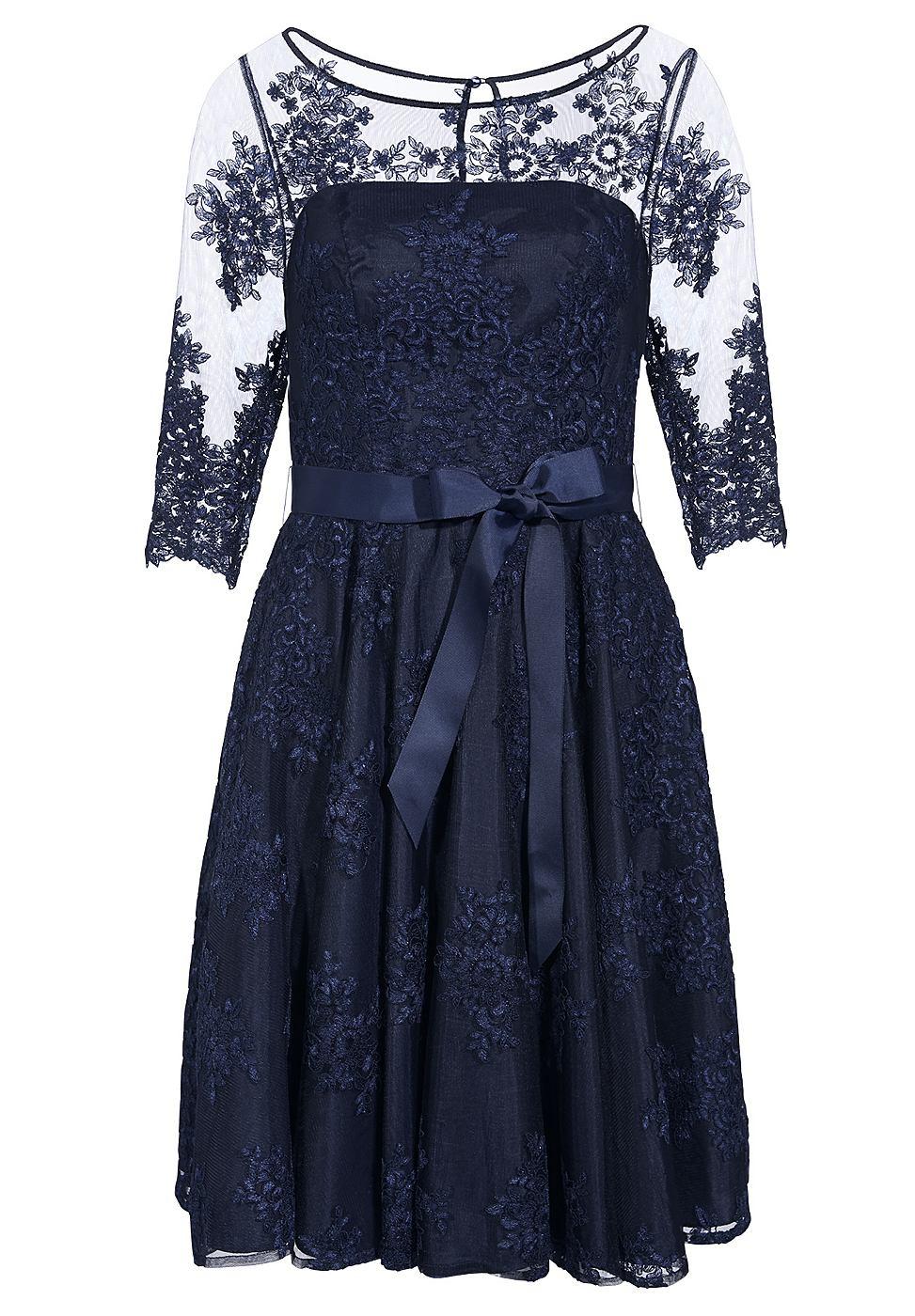 Apart kanten jurk blauw