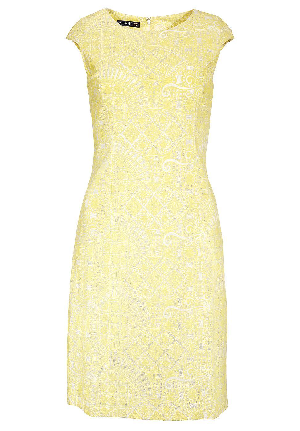 Apart kanten jurk geel