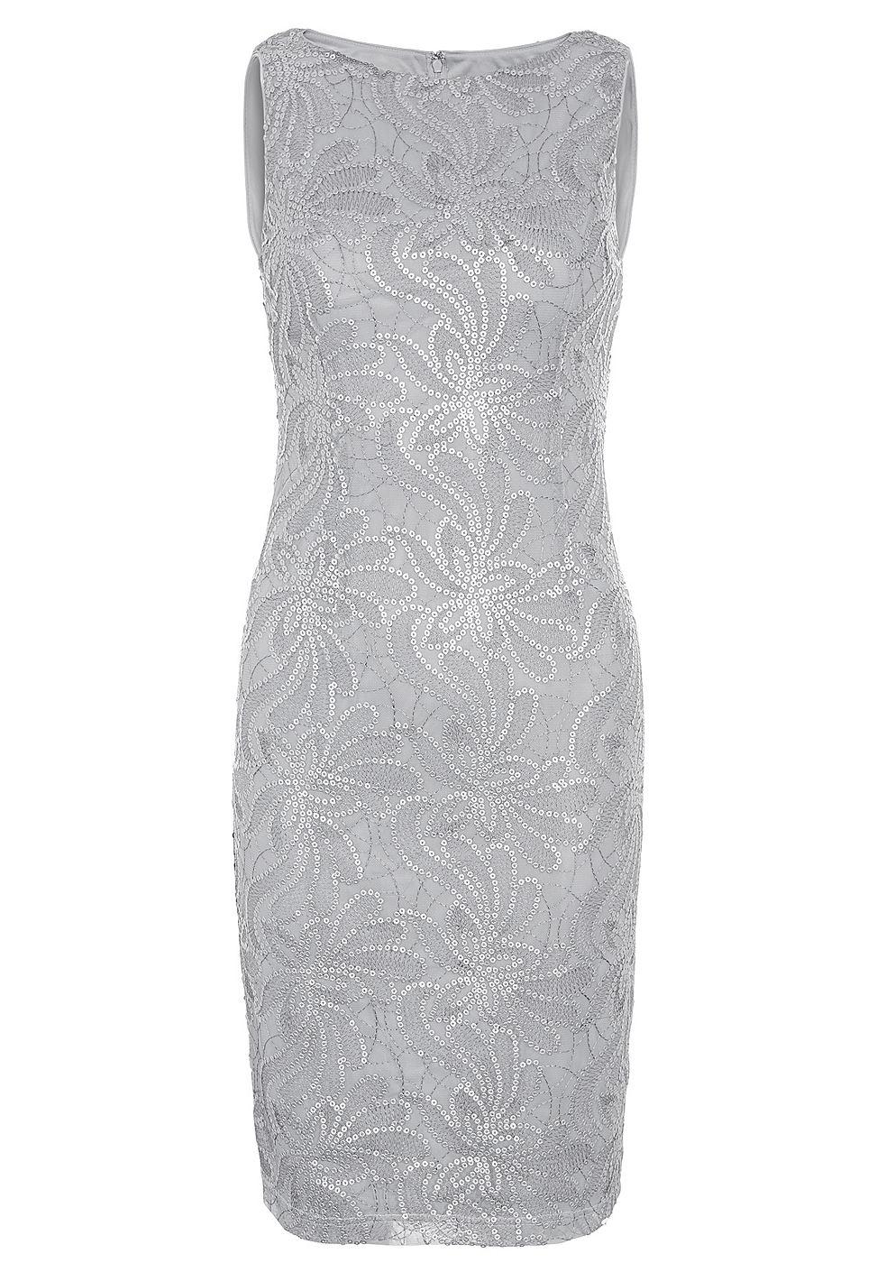Apart pailletten jurk grijs