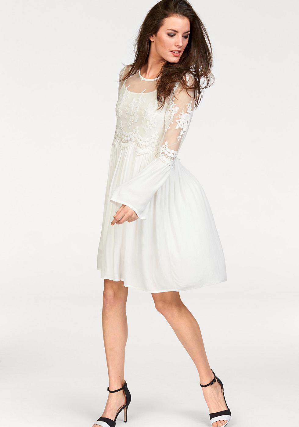 NU 21% KORTING: Aniston 2-in-1-jurk met kanten beleg wit