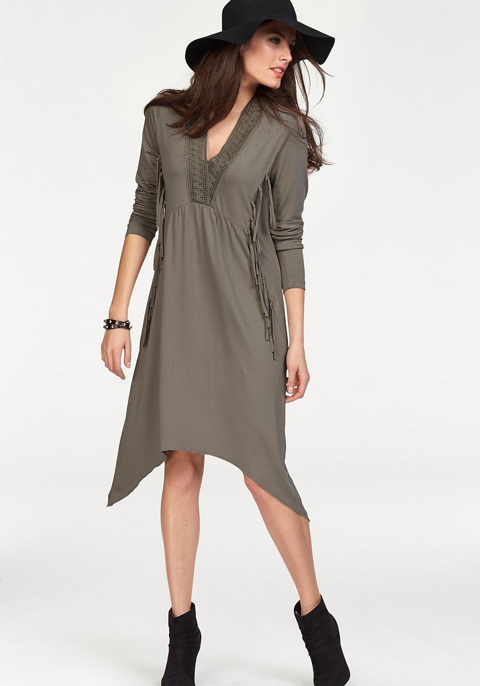 Aniston jersey-jurk met franje en kant groen