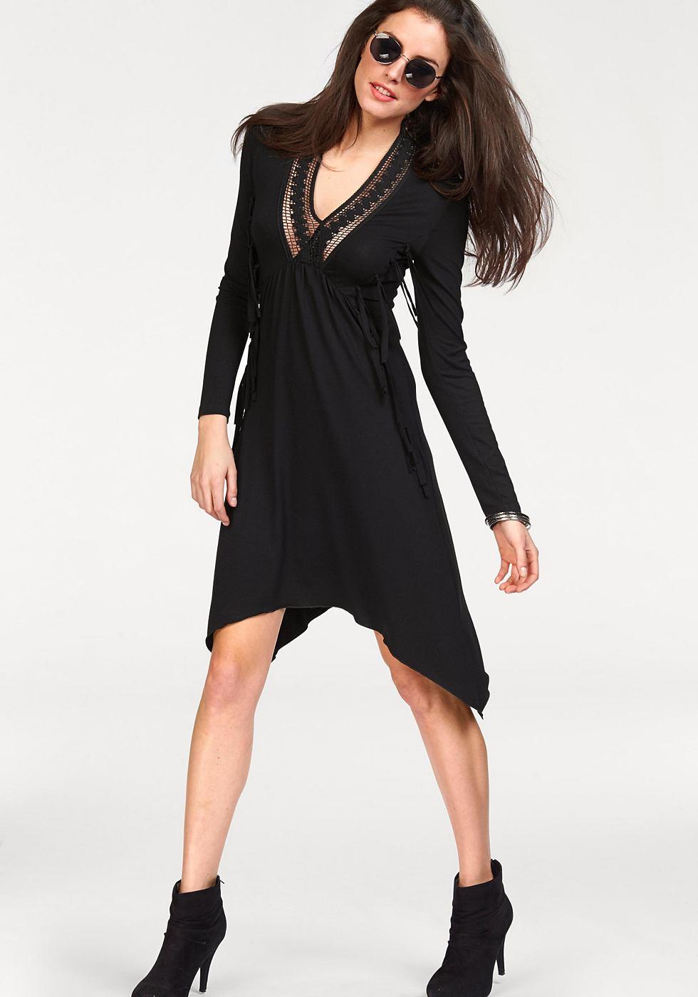 Aniston jersey-jurk met franje en kant zwart