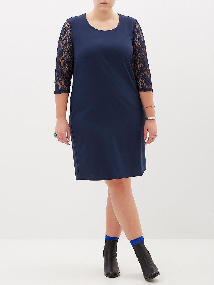 Junarose kanten details jurk blauw
