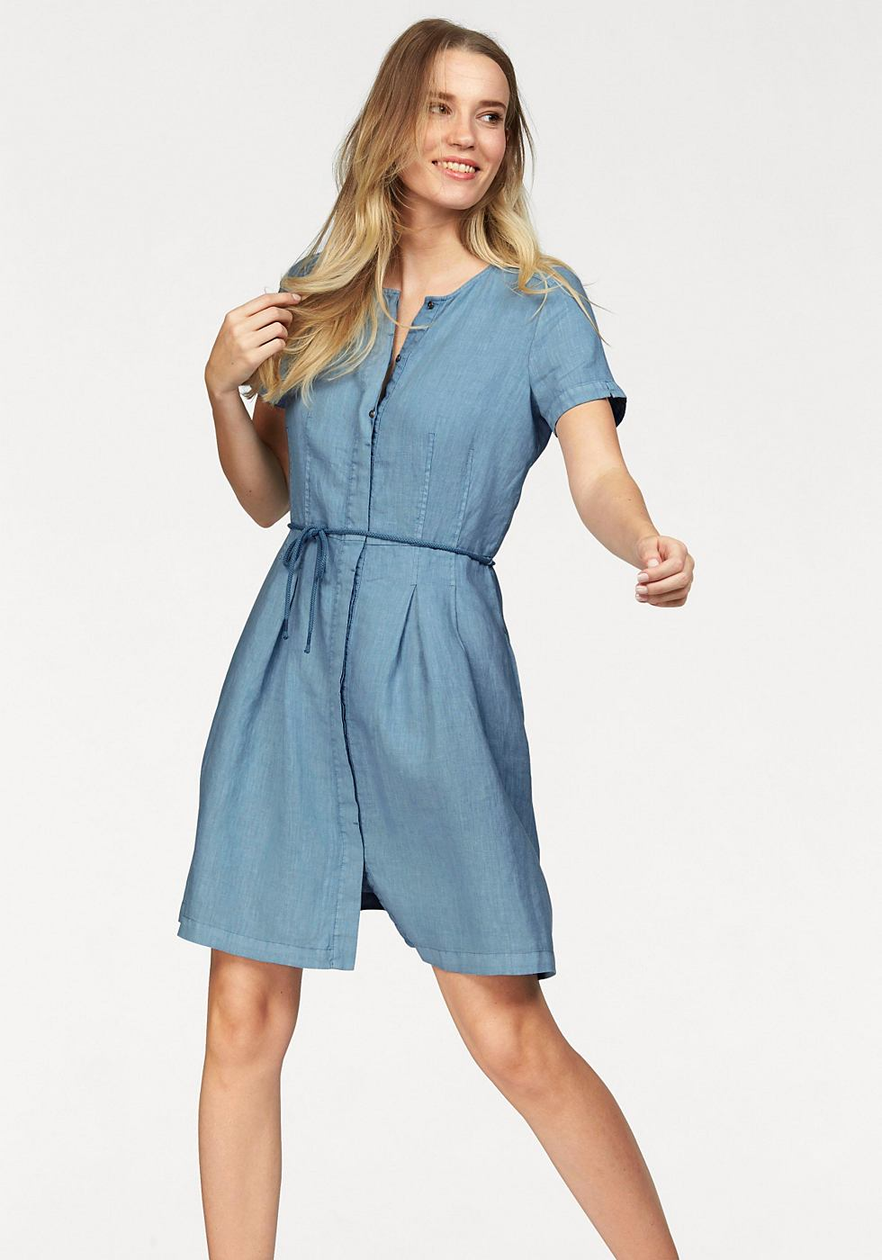 Marc O'Polo geweven jurk blauw