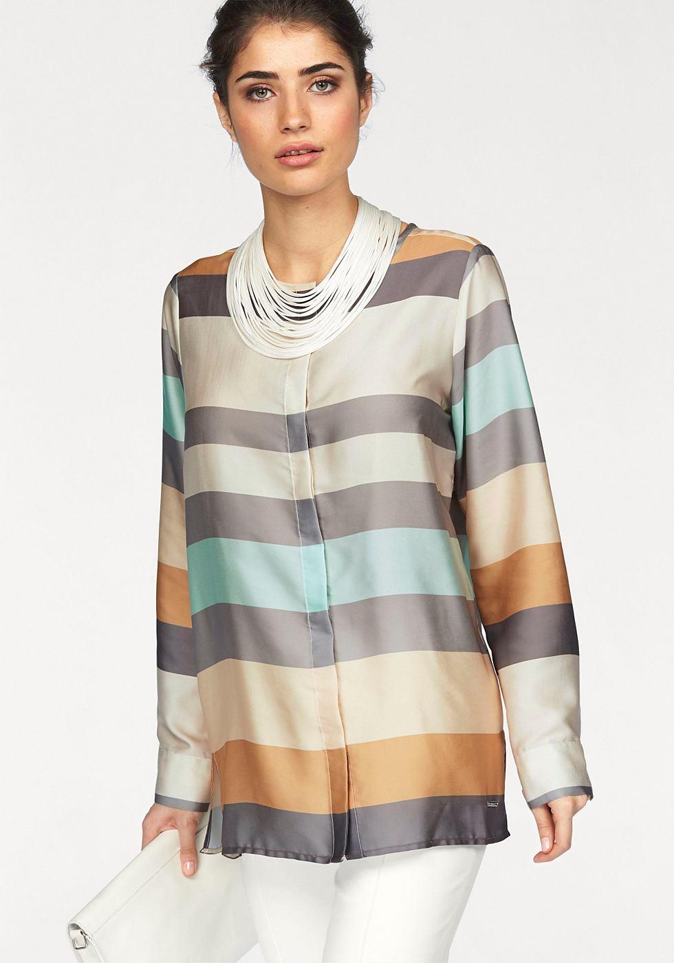BRUNO BANANI Satijnen blouse met ronde hals