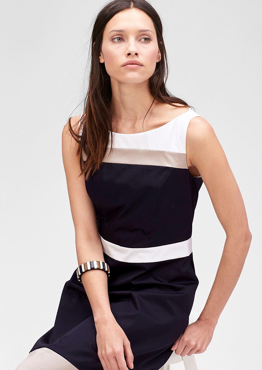 s.Oliver Premium jurk met colour block-design blauw