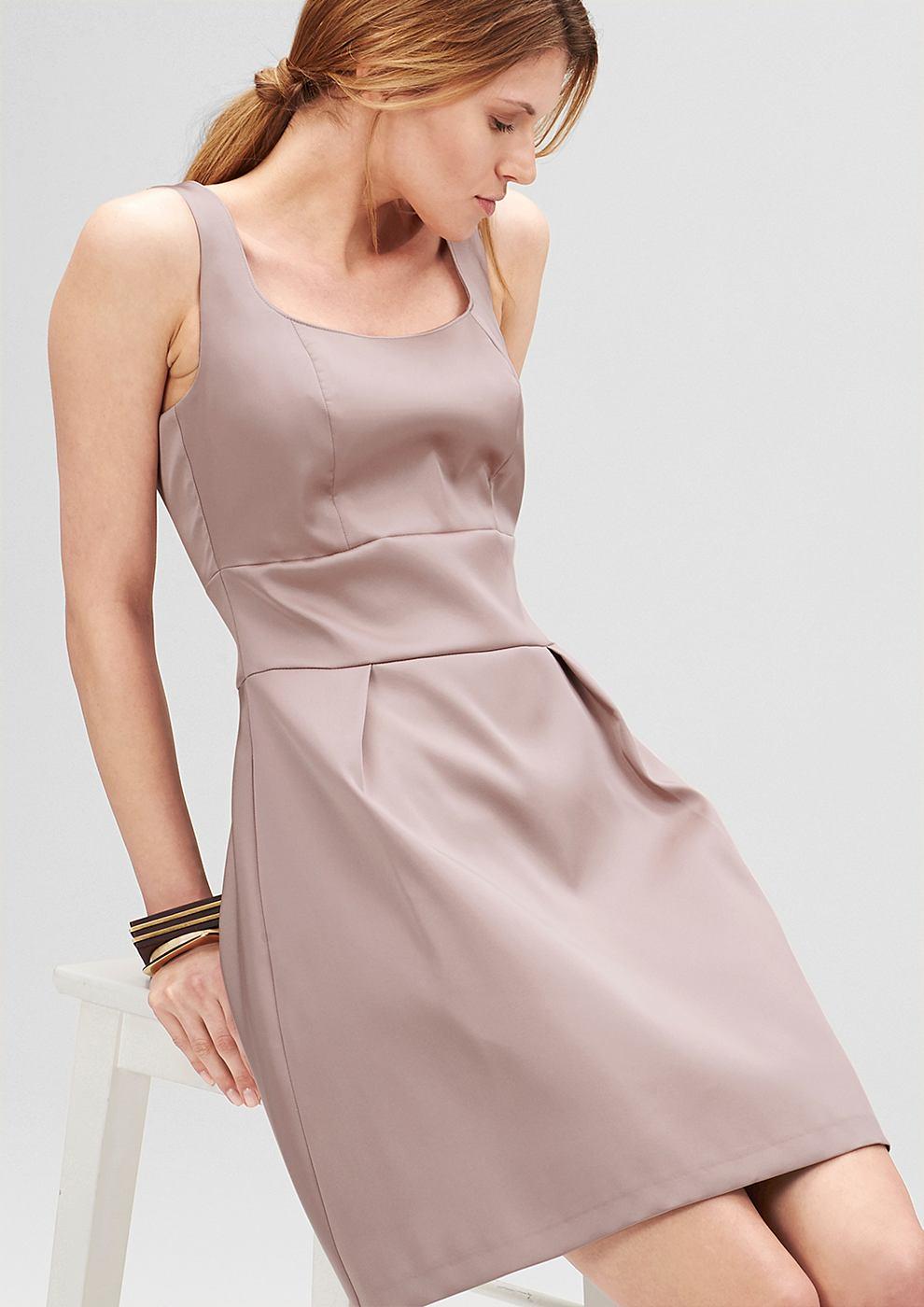 s.Oliver Premium Getailleerde jurk van satijn bruin