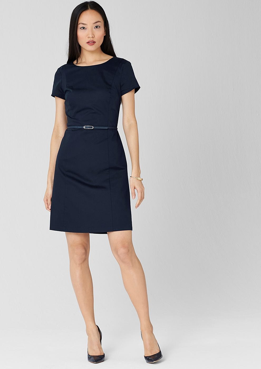 s.Oliver Premium jurk met ceintuur van katoensatijn blauw