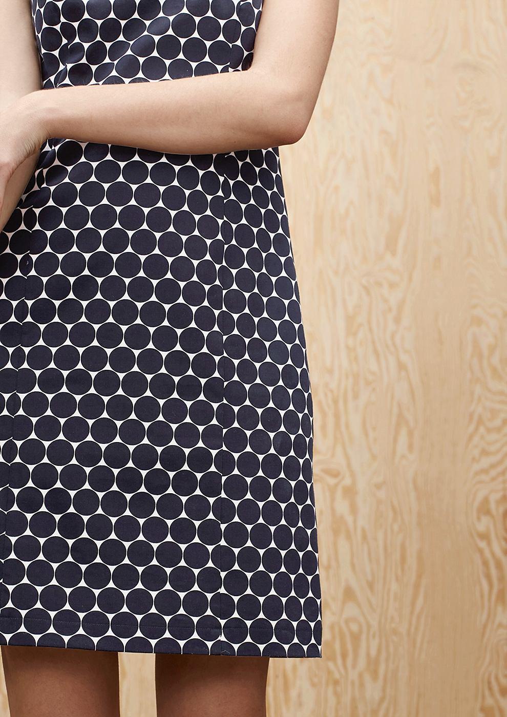 s.Oliver Premium satijnen jurk van katoen blauw